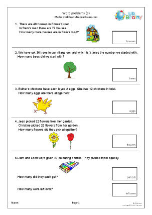 Preview of worksheet Word problems 3