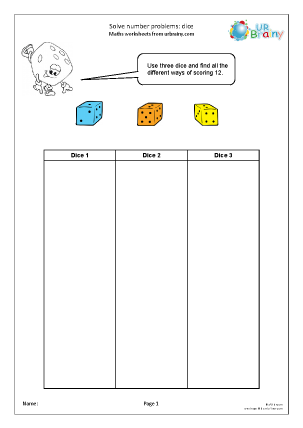 Preview of worksheet Solve number problems: dice (1)