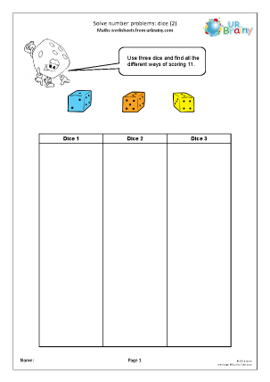 Preview of worksheet Solve number problems: dice (2)