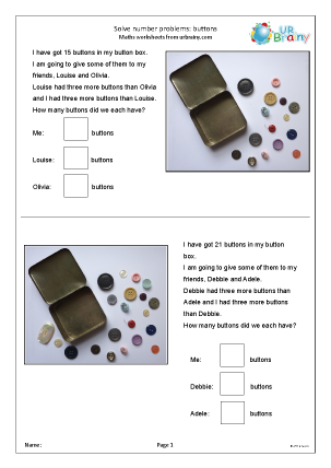Preview of worksheet Solve number problems: buttons