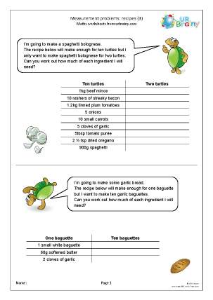 Preview of worksheet Measures: recipes 3