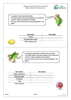 Preview of worksheet Measures: recipes 2
