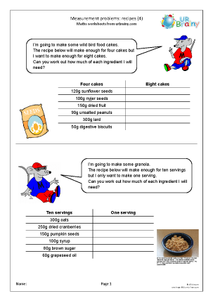 Preview of worksheet Measures: recipes 4