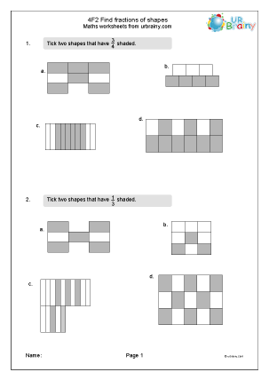 Preview of worksheet Find fractions of shapes (4F2)