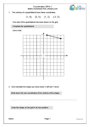 Preview of worksheet Coordinates (6P4)