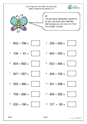 Preview of worksheet Count over the 100s boundary (3)