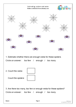 Preview of worksheet Estimating numbers: spiders and webs