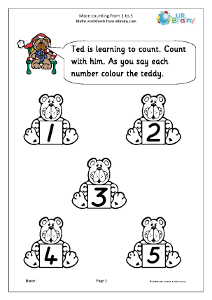 Preview of worksheet More counting:  1 to 5
