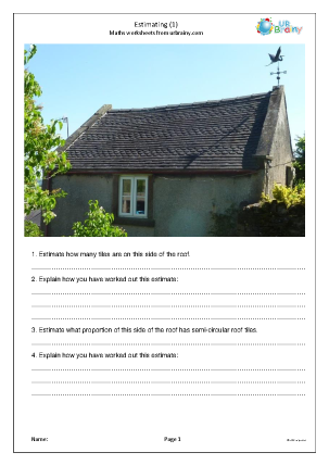 Preview of worksheet Estimating using photos (1)