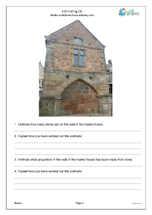 Preview of worksheet Estimating using photos (3)