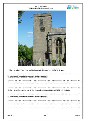 Preview of worksheet Estimating using photos (2)
