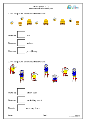 Preview of worksheet Counting objects (1)