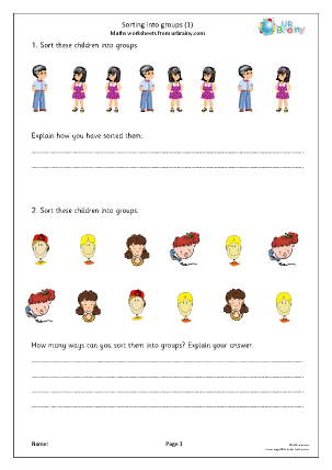 Preview of worksheet Sorting into groups (1)