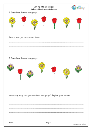 Preview of worksheet Sorting into groups (2)