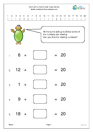 Preview of worksheet Pairs of numbers that make 20 (2)