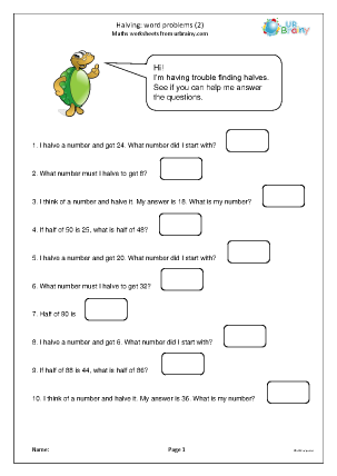 Preview of worksheet Halving word problems (2)