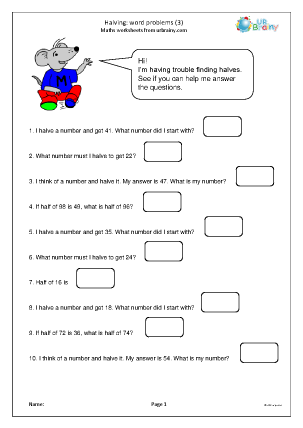 Preview of worksheet Halving word problems (3)