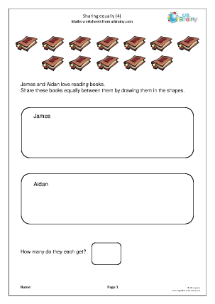 Preview of worksheet Sharing equally (4)