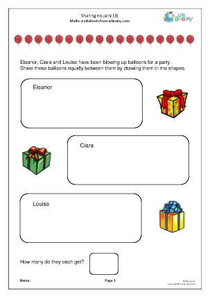 Preview of worksheet Sharing equally (3)