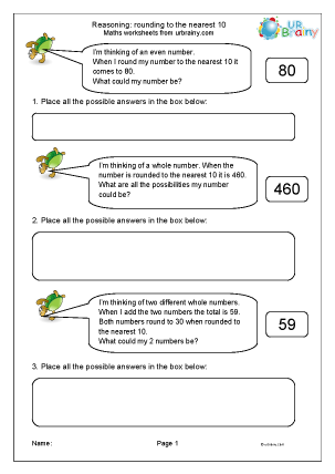 Preview of worksheet Reasoning about rounding (1)