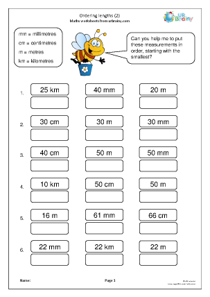 Preview of worksheet Ordering length (2)