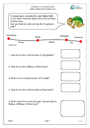 Preview of worksheet Problems in kilometres (2)