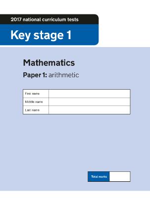 Preview of worksheet 2017 KS1 Mathematics Paper 1 Arithmetic