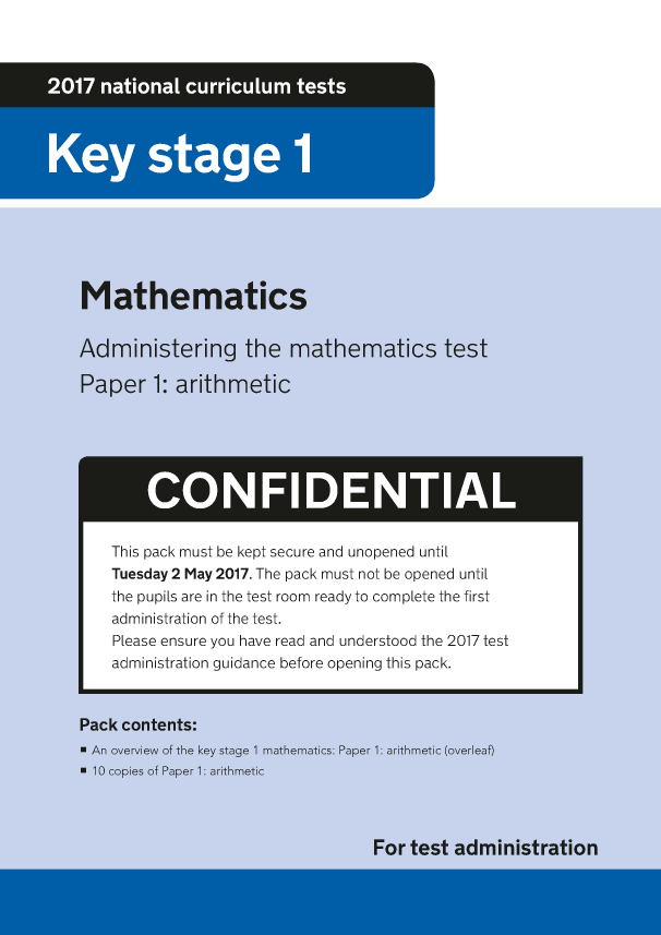 Preview of '2017 KS1 Mathematics Paper 1 Arithmetic Administration'