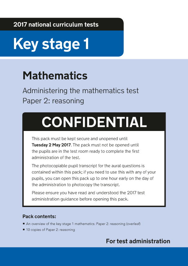 Preview of '2017 KS1 Mathematics Paper 2 Reasoning Administration'
