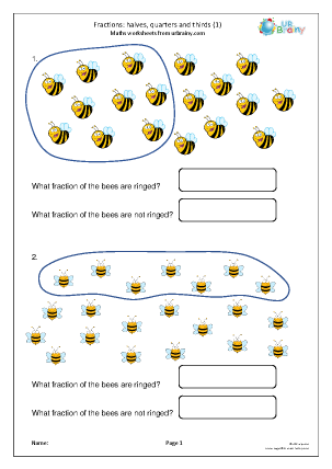 Preview of worksheet Halves, quarters and thirds (1)