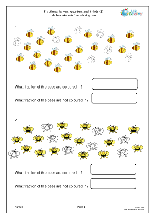 Preview of worksheet Halves, quarters and thirds (2)