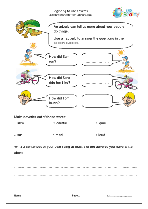 Preview of worksheet Beginning to use adverbs