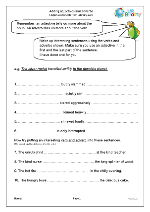 Preview of worksheet Adding adjectives and adverbs