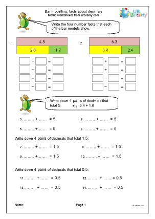 Preview of worksheet Facts about decimal fractions (inc. bar modelling) 1