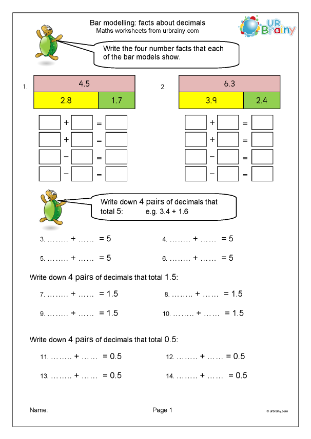 Preview of 'Facts about decimal fractions (inc. bar modelling) 1'