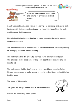 Preview of worksheet Indirect to direct speech: The Wolf and Lamb