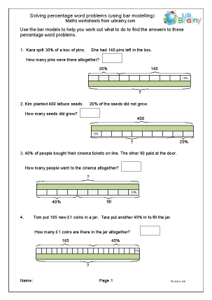 Preview of worksheet Percentage word problems (bar models)
