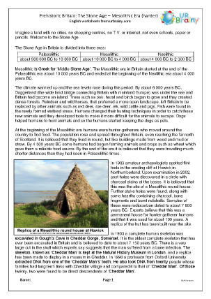 Preview of worksheet Mesolithic Britain comprehension (harder)