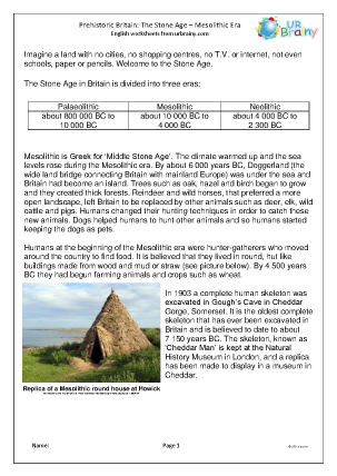 Preview of worksheet Mesolithic Britain comprehension