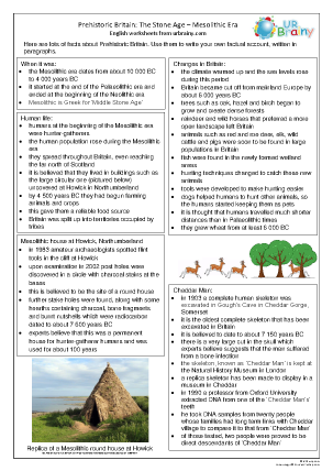 Preview of worksheet Mesolithic Britain factsheet