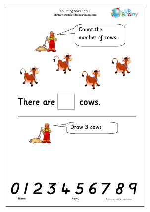 Preview of worksheet Counting cows: 1 to 5
