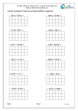 Preview of worksheet Addition of decimals with squared paper