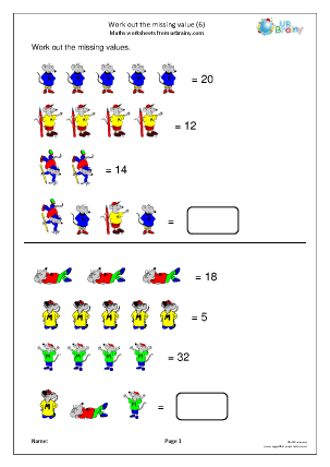 Preview of worksheet Work out the missing value (6)