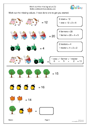 Preview of worksheet Work out the missing value (1)