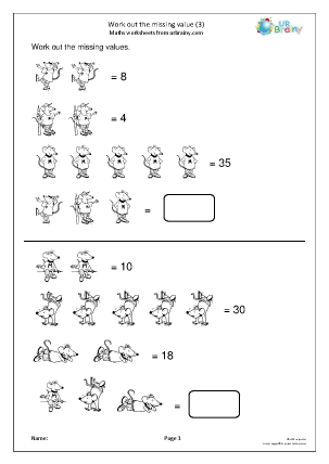 Preview of worksheet Work out the missing value (3)
