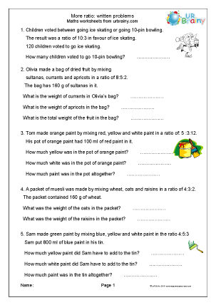 Preview of worksheet More ratio: written problems