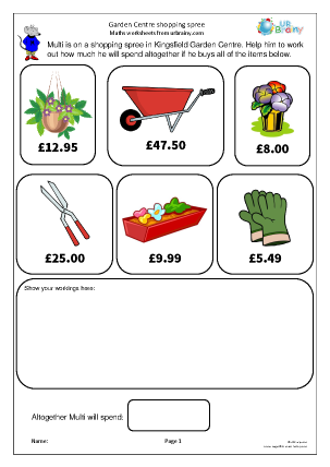 Preview of worksheet Money: shopping spree