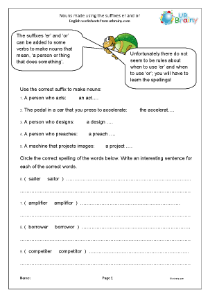 Preview of worksheet Suffixes: er and or