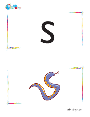 Preview of worksheet s-snake flashcard