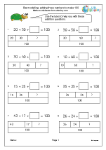 Bar modelling: adding three numbers to make 100